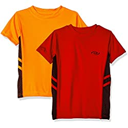 CB Sports Little Boys' 2 Athletic Performance Short Sleeve T-Shirt, Pack Neon Orange/Engine Red, 7