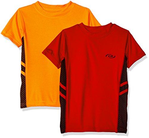CB Sports Little Boys' 2 Athletic Performance Short Sleeve T-Shirt, Pack Neon Orange/Engine Red, 7