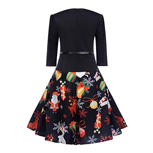 Woman Winter di Printed Merry Printed Chic Soiree Retro Dress Wedding Natale Angelof Long Black Maniche Christmas YvPqYwg