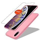GARLEX-iPhone Xr Silicone Case,Ultra Thin Liquid Gel Rubber Phone Cover Case with Hybrid Protection Compatible with iPhone Xr 6.1 Inch (2018), Sand Pink