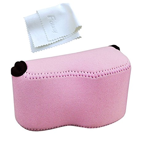 OC-S1P Pink Mirrorless Camera Pouch for Sony A6300/A6000/A5100/A5000 with 16-50mm Lens, Fujifilm X-M1/X-T10 with 18mm Lens, X30 X70, Panasonic LX100 & Sony RX1 RX1R II
