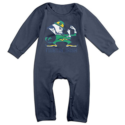 Dadada Boy's & Girl's University Of ND Logo Long Sleeve Bodysuit 12 Months