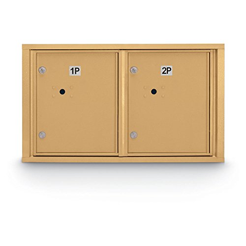 postalproducts N1029449GLD Standard 4C Mailbox with, 2 Horizontal Parcel Lockers, 18