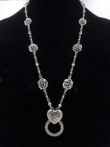Designer Inspired Eyeglass Holder Necklace Lanyard with Ornate Rose & Heart Pendant