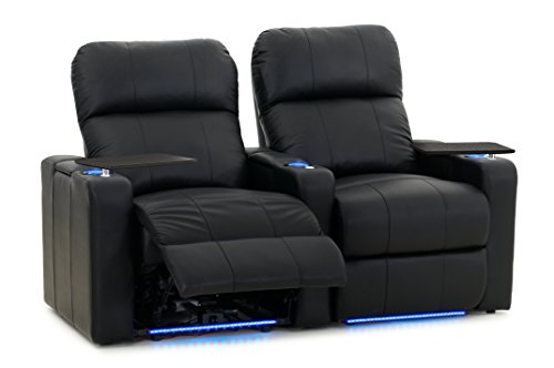 Octane Turbo XL700 Row of 2 Seats, Straight Row in Black Bonded Leather with Power Recline by Octane Seating