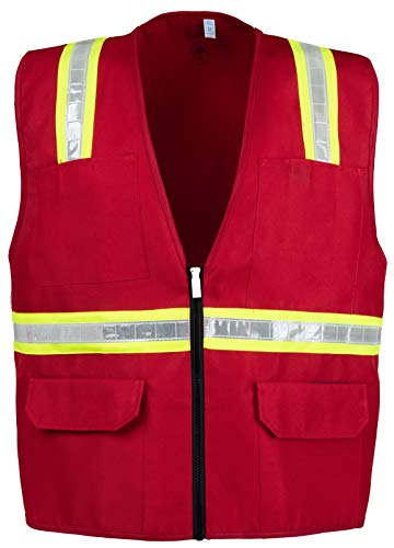 (Safety Depot Safety Vest High Visibility Reflective Tape with 4 Lower Pockets, 2 Chest Pockets with Pen Dividers 8038-RD (Red, Large))