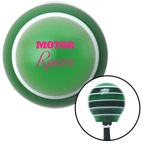 American Shifter Company ASCSNX1596899 Pink Motor Racer Green Stripe Shift Knob with M16 x 1.5 Insert hemi 427 tpi
