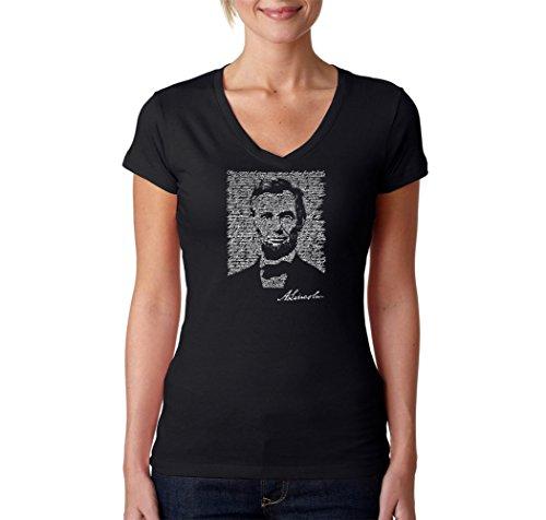 LA POP ART Women's Word Art V-Neck T-Shirt - Abraham Lincoln - Gettysburg Address Black (Abraham Lincoln Log Cabin Replica)
