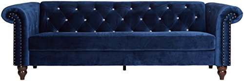 Ashley Furniture Signature Design - Malchin Casual Upholstered Sofa with Faux Crystal Button Tufting - RTA Sofa in a Box - Navy - CHESTERFIELD SOFA: Feeling star struck yet? We are with this timeless Chesterfield design. Chic detailing such as the rolled arms and diamond tufting provide that luxe finish you crave STYLISH COMFORT: High-resiliency foam cushions are wrapped in supple polyester with faux crystal button tufting. Designed with black nickel nailhead trim and exposed feet with a faux wood finish DEEP NAVY: Fashionistas rejoice—elevated style is brought to the forefront with this elegant shade of blue in your living room - sofas-couches, living-room-furniture, living-room - 41qlO bJYgL -