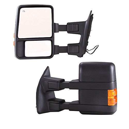 GZYF Pair Power Towring mirrors for * 2003-2007 * Ford F250 F350 F450 F550 Super Duty Heated Function Amber Turn Signals Folding Telescoping Extending 03-07 (Ford F250 Super Duty Mirrors compare prices)