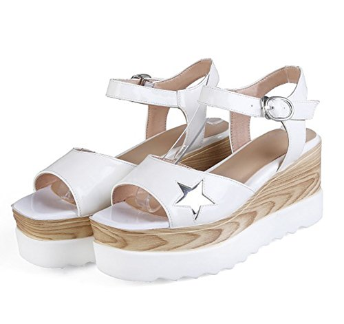 Easemax Womens Sweet Star Open Toe Ankle Buckle Strap Platform Mid Wedge Heel Sandals White lLrOnghopf
