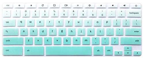 Silicone Keyboard Cover Skin Compatible for 11.6 inch Samsung Chromebook 3 XE500C13 XE501C13 11.6 Samsung Chromebook 2 XE500C12 12.2 inch Samsung Chromebook Plus V2 2-in-1 XE520QAB Ombre Mint Green