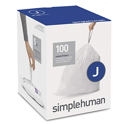 simplehuman Code J Custom Fit Drawstring Trash Bags, 30-45 Liter / 8-12 Gallon, 100-Count - Series Liner One