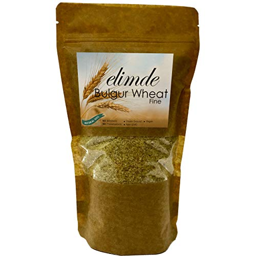 Elimde Bulgur Wheat Fine ( 1 lb. ) | Stone Ground | %100 Natural | %100 Non-GMO Durum Wheat | For Pilaf For Salad Vegan | No Additives No Preservatives (1 Pound) Resealable Pack