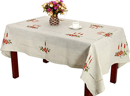 Handmade Hemstitched Natural Embroidered Poinsettia Candles Rectangle Christmas Tablecloths 56 x 82 inch
