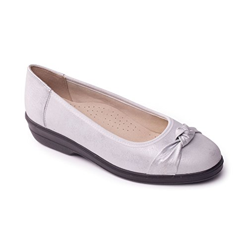 Leather 'Fiona' Wide Padders Pump Footcare shoehorn Extra EE Silver Free Heel 30mm UK Fit Women's w5tSwqX