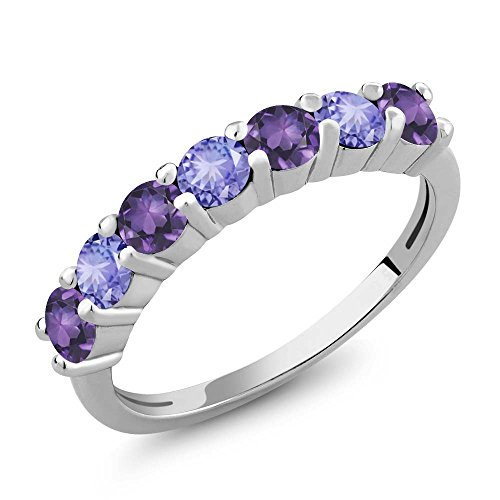 Gem Stone King 1.14 Ct Round Purple Amethyst Blue Tanzanite 925 Sterling Silver Anniversary Ring (Size 6)