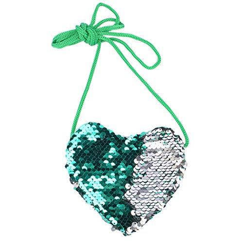 (Oufenli Little Girl Shoulder Bag Cute Mermaid Sequins Heart Shape Messenger Bag Mini Coin Purse Handbags (Green))