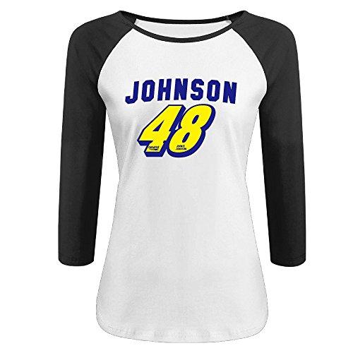 KIYOMM Women's 48 Logo Baseball 3/4 Sleeve Tshirts Black
