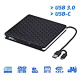 External DVD Drive for Laptop, Portable High-Speed USB-C&USB 3.0 CD Burner/DVD Reader Writer for PC Desktops, Compatible...