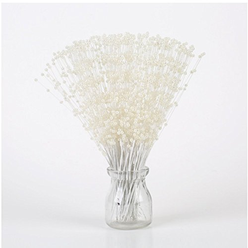 100pcs/Lot ABS Pearl Spurting Beads Sticks Bridal Wedding Bouquet Cakes Toppers Party Supplies Decoration (white)