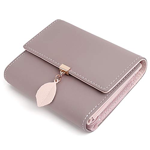 UTO Small Wallet for Women PU Leather Leaf Pendant Card Holder Organizer Zipper Coin Purse A Pale Mauve