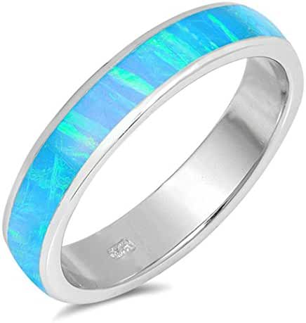 CHOOSE YOUR COLOR Sterling Silver Lab Created Opal Wraparound Ring (Size 5 - 10)