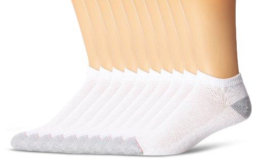 Hanes Men's 10-Pack Ultimate FreshIQ Low-Cut Socks ,White,Sock Size: 10-13/Shoe Size:6-12 (Low Ankle Socks)