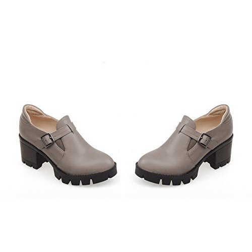 AgooLar Damen Ziehen auf PU Rund Zehe Rein Mittler Absatz Pumps Schuhe Grau