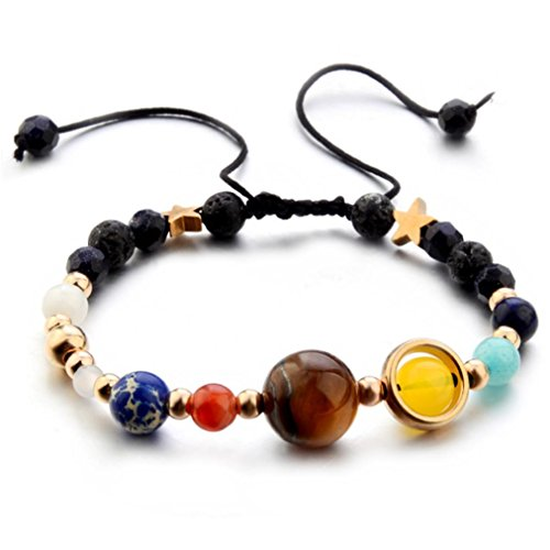 Bracelet Galaxy Solar System Eight Planets Theme Natural Stone Beaded Fashion (Multicolour) ()