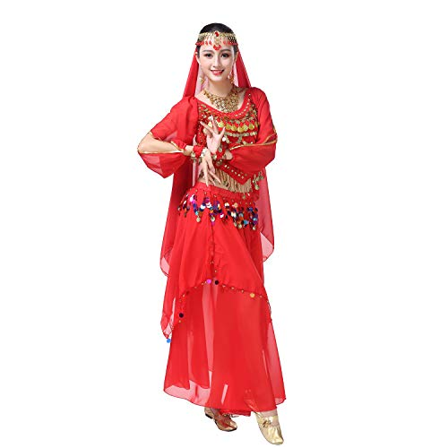 Maylong Women's Belly Dance Outfit Colorful Coins