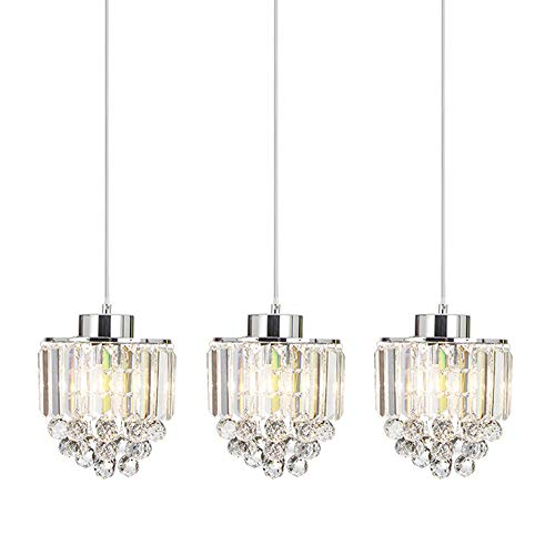 COTULIN Set of 3 Polished Pendant Light Decorative Pendant Lighting Fixture Cord Adjustable Crystal Chandelier Pendant Light,Ceiling Light for Living Room Dining Room Bar