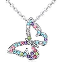 Kiokioa Butterfly Multi-Color Crystal Charm Pendant Necklace for Girls, Teens and Women