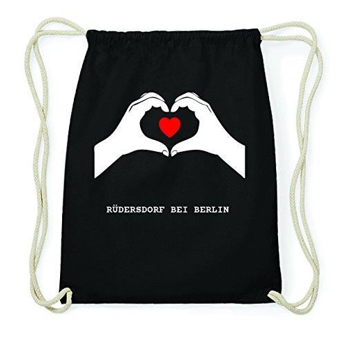 JOllify RÜDERSDORF BEI BERLIN Hipster Turnbeutel Tasche Rucksack aus Baumwolle - Farbe: schwarz Design: Hände Herz m3fg44
