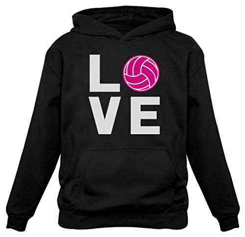 (Love Volleyball Gift for Volleyball Lovers Players Women Hoodie XX-Large Black)