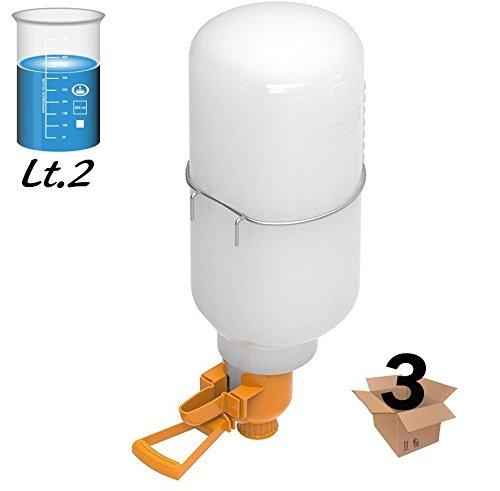 Pezzi 3 Abbeveratoio da litri 2 per ornitologia, uccelli, canarini, voliere e simili. Utile per gabbie di grandi dimensioni e voliere, fornito di anello reggi serbatoio e posatoio. copele