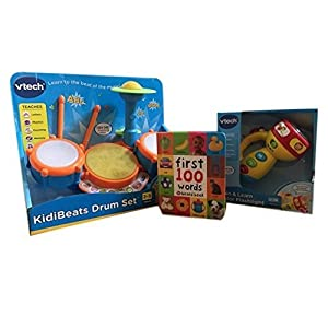 Vtech Kidibeats Kids Drum Set, Spin and Learn Color Flashlight & Baby's First 100 Words Book Bundle