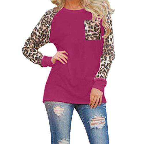 Xinantime Women Leopard Blouse Long Sleeve Ladies T Shirt Plus Size Tee Tops Sweatshirt Fashion T-Shirt Oversize Tunic Purple ()
