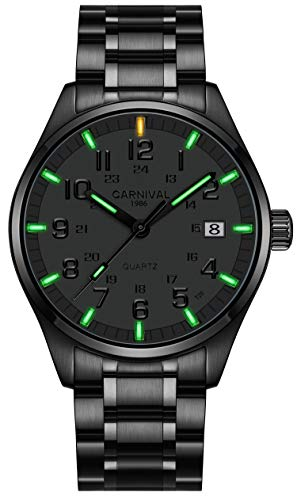 Men's Quartz Watch Arabic Analog Outdoor Military Tritium Super Bright Self Luminous Blue Or Green (Green Light-All Black)