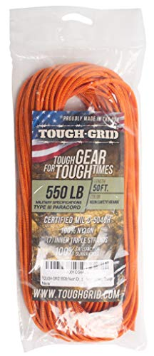 (TOUGH-GRID 550lb Neon (Safety) Orange Paracord/Parachute Cord - Genuine Mil Spec Type III 550lb Paracord Used by US Military (MIl-C-5040-H) - 100% Nylon - Made in USA. 50Ft. - Neon (Safety) Orange )