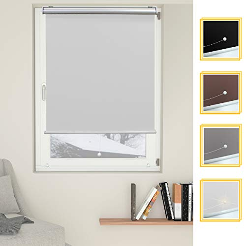 Allesin Cordless Roller Shades Blinds Spring Blackout Thermal White 23 x 72 Inch Cordless Privacy Room Darkening Window Shade Blind Kit with Spring System for Windows