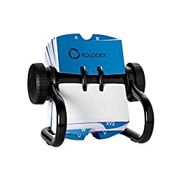 Rolodex Open Rotary Card File with 500 2-1/4 x 4 Inch Cards and 24 Guides, Black Finish (66704)