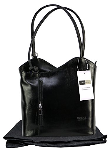Italian Leather Hand Made Black Handbag, Shoulder Bag or Back Pack. Larger Version. Includes a Branded Protective Storage Bag.