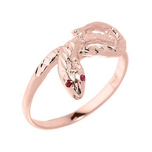 High Polish 10k Rose Gold Dainty Red-Eyed Snake Ring (Size 12) ()