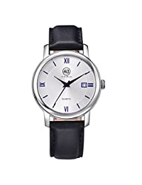 AIBI Women's Watch Quartz Black Leather Strap Waterproof Watches For Lady 36mm Case With Date