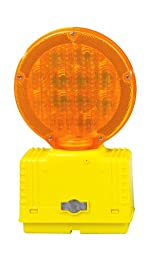 Cortina 03-10-3way-dc Polycarbonate LED Barricade Light with Photocell, 6 VDC, Amber