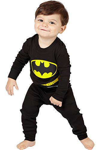 DC Comics Baby Infant 'Batman Superhero Logo' Cotton Costume Pajama Set, black,  24MO]()