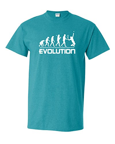 (Thread Science Tennis Evolution Sports Ball Racquet Badminton Racquetball Tee Funny Humor Pun Graphic Adult Mens T-Shirt (Small, Jade))