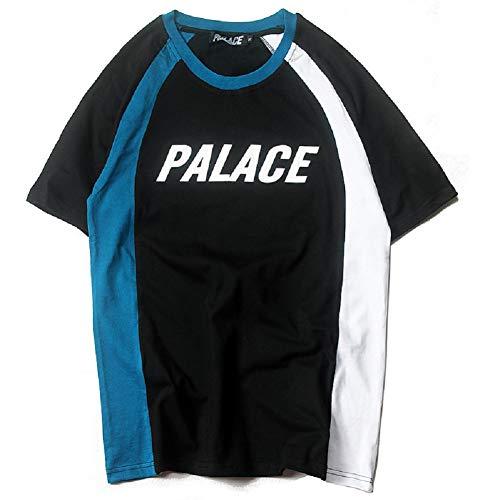 a75c53234f7967 NIMOO Men Palace British Street Skateboard Color Stitching Short-Sleeved T- Shirt
