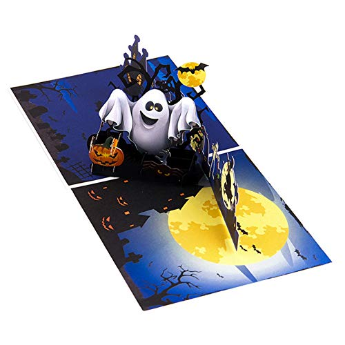 (KINHOO Pumpkin And Ghost 3D Popup Halloween Card, Trick Or Treat Greeting Card Invitations Envelope Included)